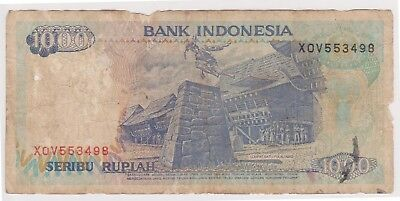 (K67-14) 1992 Indonesia 1000 Rupiah bank note (tatty) (A)