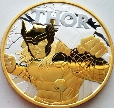 2018 1 oz Tuvalu Thor Marvel Series .9999 Pure Silver Coin 24k Gold Gilded