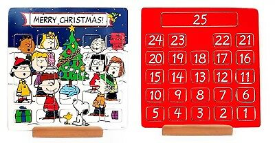 Peanuts Snoopy and Gang Painted Wooden Advent Calendar Christmas Tree Scene
