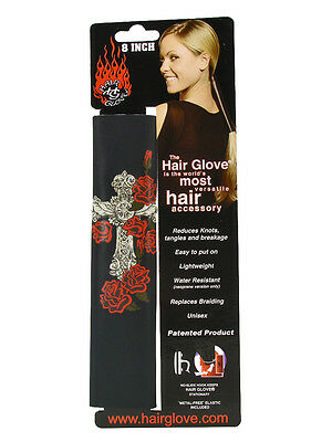 "Hair Glove® 8"" Leather Vintage Winged Cross & Roses w/Gems 31850 Ponytail Holder"
