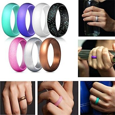 7 Pack Silicone Wedding Ring Band Rubber Men Women Flexible Gifts Comfortable