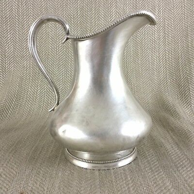Antique Silver Plate Creamer Jug Large Size Bead Trim Simple Beaded