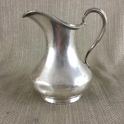 Antique Silver Plate Creamer Jug Large Size Bead Trim Simple Roberts & Belk
