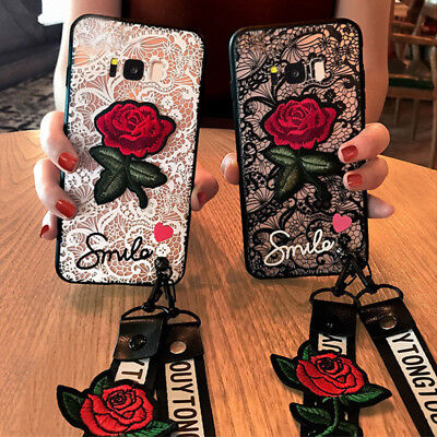 Lace Rose Flower WIth Lanyard Case For Huawei Y9 Prime 2019 Honor 9X 20 Pro P30