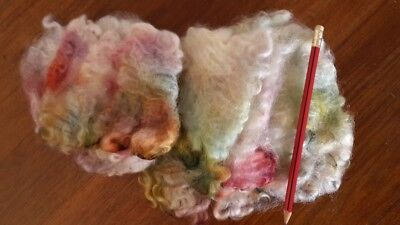 Lincoln Wool Locks Hand Dyed Rainbow Colors Needle or Wet Felting