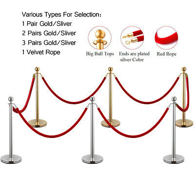 2/4/6 PCS Gold/Silver Stanchion Post Polished Steel Queue Barrier Rope/Belt Set