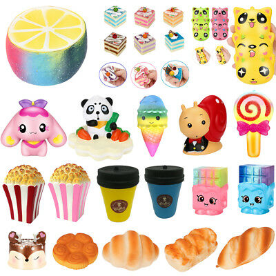 Lot Jumbo Squeeze Popcorn Cup Squishy Slow Rising Decompression Phone Strap Toys