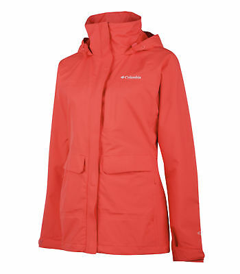 Columbia Longer Miles Jacket, Womens Waterproof, Red Hibiscus, M
