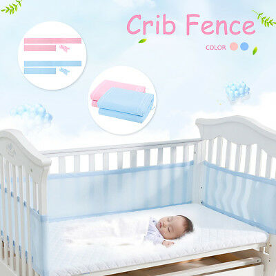 4 Sides Soft 3D Breathable Baby Mesh Liner Airflow Cot Crib Bed Bumper Washable