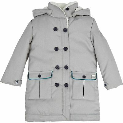 CARREMENT BEAU Girl's Kids Grey Fleece Lined Jacket - size 104cm / 4 years