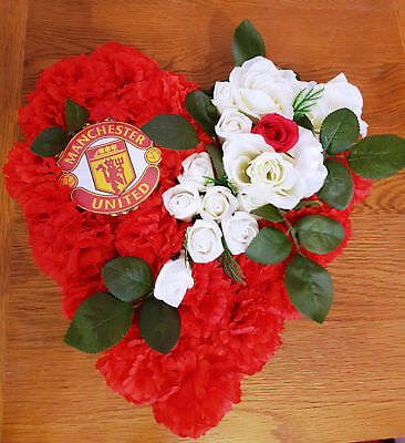 Manchester United Funeral Heart Memorial Tribute Wreath Artificial Flowers