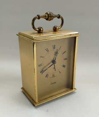 Vintage Swiza Swiss Made Solid Brass 8-day Carriage Mantle Alarm Clock Working