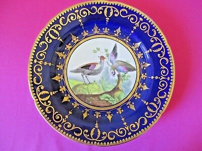 Exquisite Antique Hand Painted Blue & Gold Gilt Wall Display Cabinet Plate 1820s