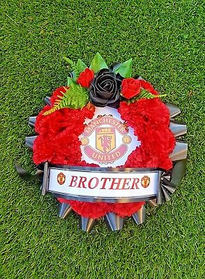 Manchester United Silk Flowers Funeral Wreath Posy Grave Memorial Tribute