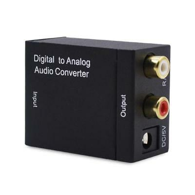 Digital Optical Coaxial Toslink Signal to Analog Audio Converter RCA Black