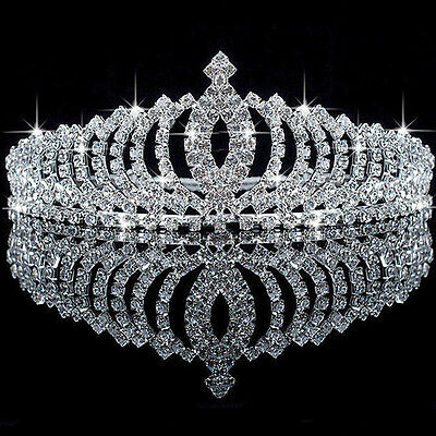 UK Kids Bridal Flower Prom Wedding Pageant Rhinestone Crystal Pearl Crown Tiara