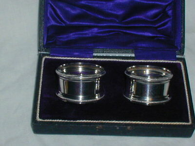 Antique Pair Of Sterling Silver Hallmarked Boxed Napkin Ring s Edwardian C1912