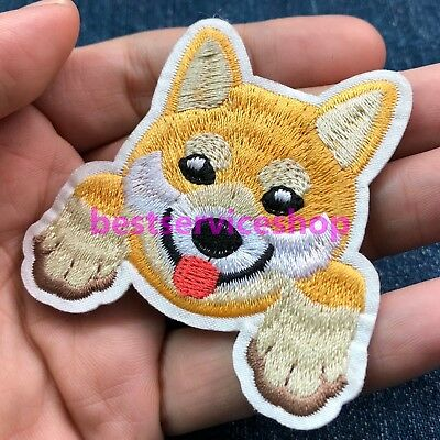 Shiba Inu Dog Breed Japan Head Face Embroidered Iron Sew On Patch Applique DIY