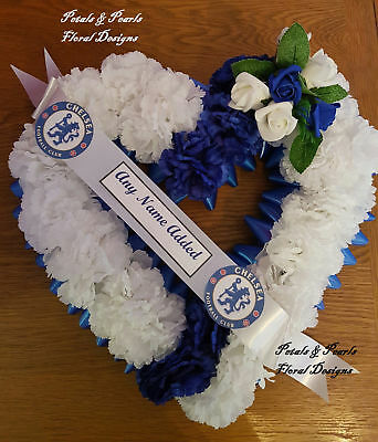 Chelsea Football Club Funeral Wreath Artificial Silk Flower Grave Memorial Heart