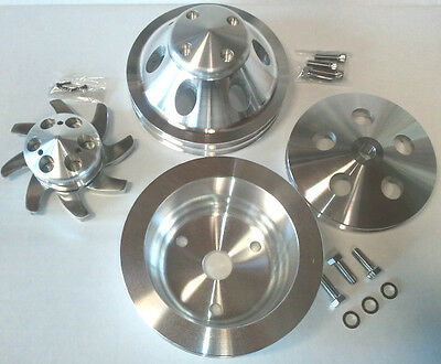( POLISHED )  Finish Aluminum Small Chevy SBC 2 Groove Long Pump Pulley Kit 350