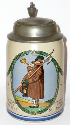 Old Franz Wrestler Beer Stein Jug Stone FR Night Watchman Art Nouveau RARE