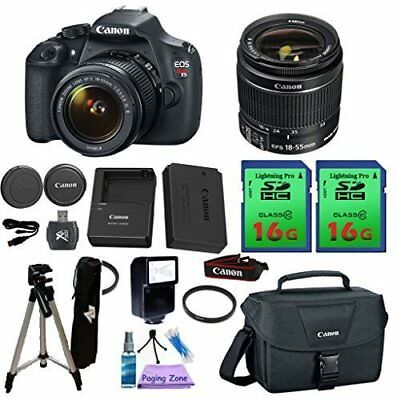 Canon EOS Rebel T5 DSLR Camera & Canon EF-S 18-55mm Lens + 2 Pieces 16 GB