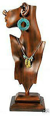 Tall Necklace and Pendant Figurine Jewelry Display Vintage Finish Mannequin 19""