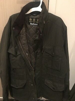 Barbour Sapper Jacket Military Style Waxed Cotton Men's M Hidden Hood