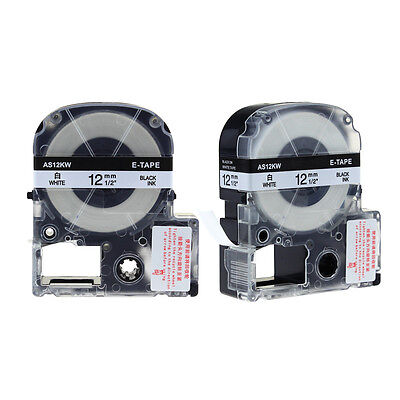 2PK LC-4WBN9 Compatible for Epson/K-Sun Label Tape Black on White 12mm 0.47inch