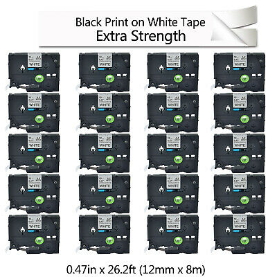 20PK TZe S231 TZ-S231 Black on White Label Tape For Brother P-Touch 12mm 1/2inch