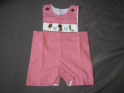 p7 New Molly Pop Checkered Shortall With Smocked Western Motif Spurs Boots 24 M
