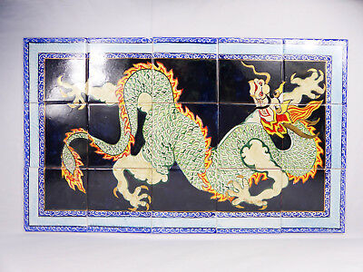 """Chinese Dragon Hand-painted Wall Tile Panel Mural Splashback Table Top 18"""" x 30"""""""