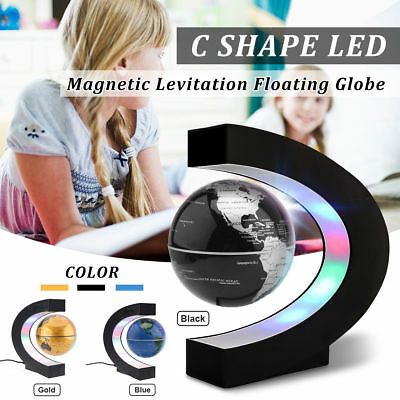 LED Floating Globe World Map Rotating Magnetic C Shape Levitation Ball Kids Gift