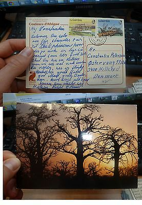 Gambia 10B+75B Boats on 1985 Tree PPC to Denmark, message (30bee)
