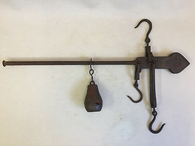 "Antique Cast Iron Balance Beam Scale 19"",50 lbs Hooks Industrial Country Decor"