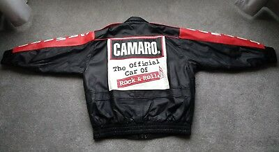 New Chevy Camaro Leather Jacket Official Car of Rock & Roll Black Red White