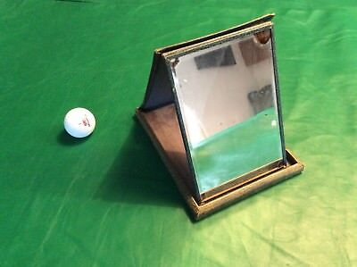 Campaign MIRROR travelling mirror green shagreen c1880 folding on stand 20x15cms