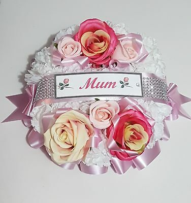 Round Artificial Rose Flower Posy Funeral Wreath Grave Memorial Tribute
