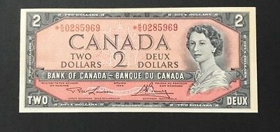 1954 Bank of Canada $2 Dollar Replacement Banknote Lawson/ Bouey *K/G