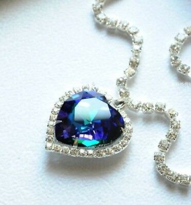 Titanic Heart Of The Ocean Sapphire Blue Crystal Quartz Pendant NECKLACE Gem