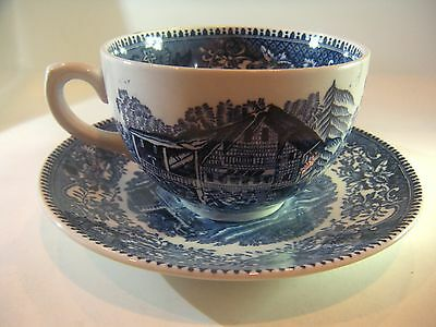Wedgwood & Co Cup & Saucer Set Avon Cottage Blue And White Made England