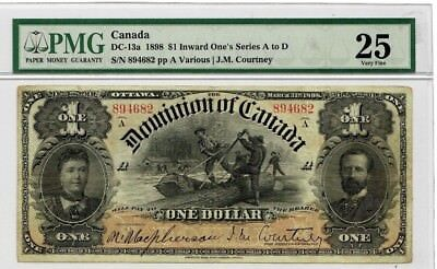1898 Dominion of Canada $1 Inward One's Very Fine 25 Series A