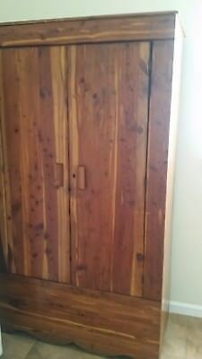 Vintage All Wood Cedar Closet Armoire Wardrobe