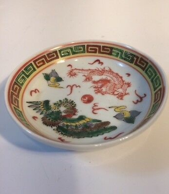 Small Vintage Chinese Porcelain Plate With Dragon