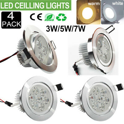 4Pcs CREE LED Recessed Ceiling Light 3W 5W 7W Downlight Spot Lamps Bulb Dimmable