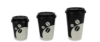Disposable Coffee Cups Double Wall Takeaway Bulk paper cups 1000 Cups+Lids
