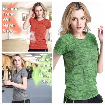 Women Breathable Gym Sports Shirt Yoga Top Fitness Running Shirt Dry Quick Slim