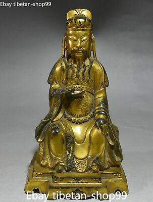"""10"""" China Bronze Gold Gilt Ancient Civil Official Civilian Old Man People Statue"""