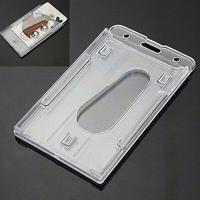 2Pcs Vertical Hard Plastic ID Badge Holders Double Cards Multi Transparent Clear