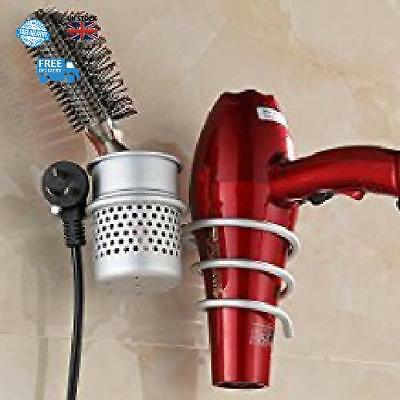 New Hairdryer And Straightener Holder Set Wall Mountable Silver